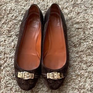 Authentic Gucci Brown Velvet and Leather Flats